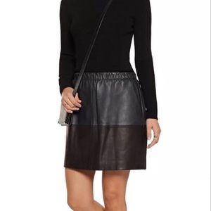 Vince lamb leather color block skirt